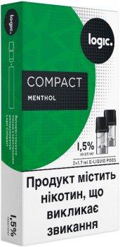 Картриджі Logic Compact Menthol для POD-систем 1.5% 2 шт. (Ментол) (14488897) (4820000537049)