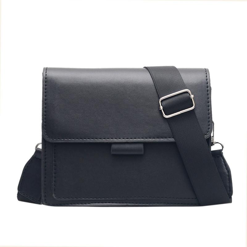 Без бренда / Женская классическая сумка кросс-боди на широком ремешке черная