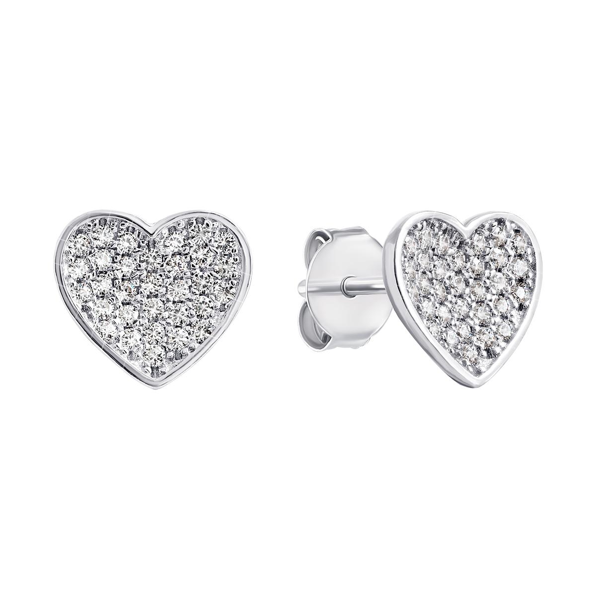 Серебряные пуссеты Сердце с фианитами PSS0775ES