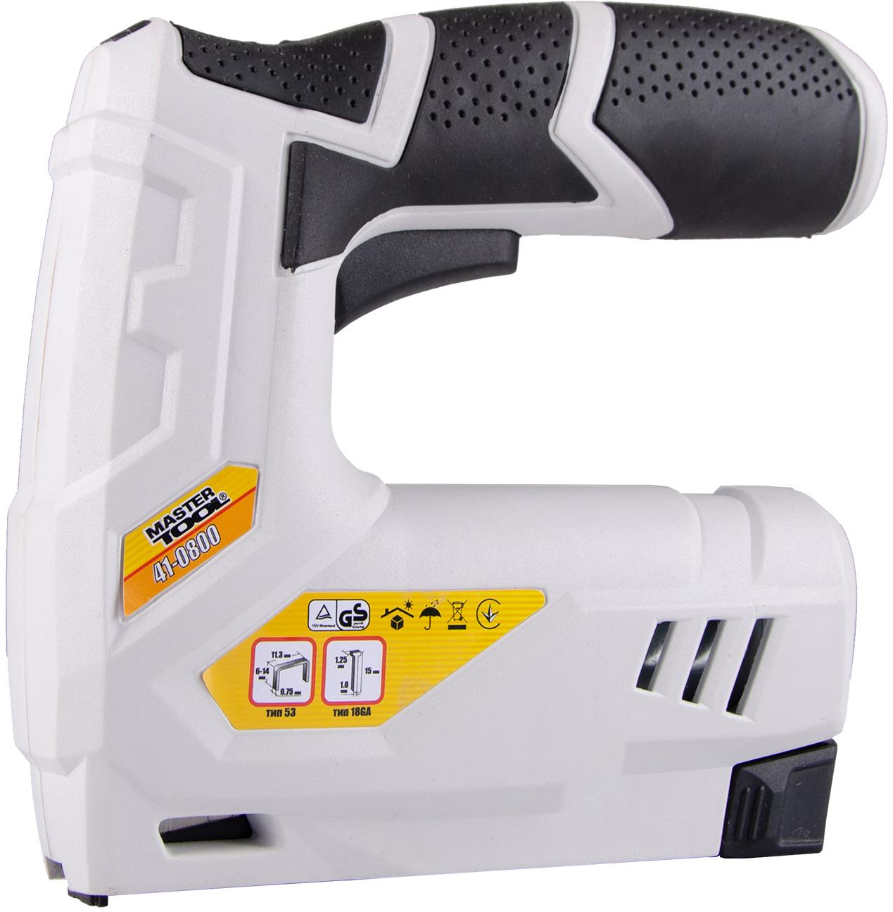 Степлер акумуляторний Mastertool скоба 6-14 мм 11.3х0.7 мм цвях 15 мм (41-0800)