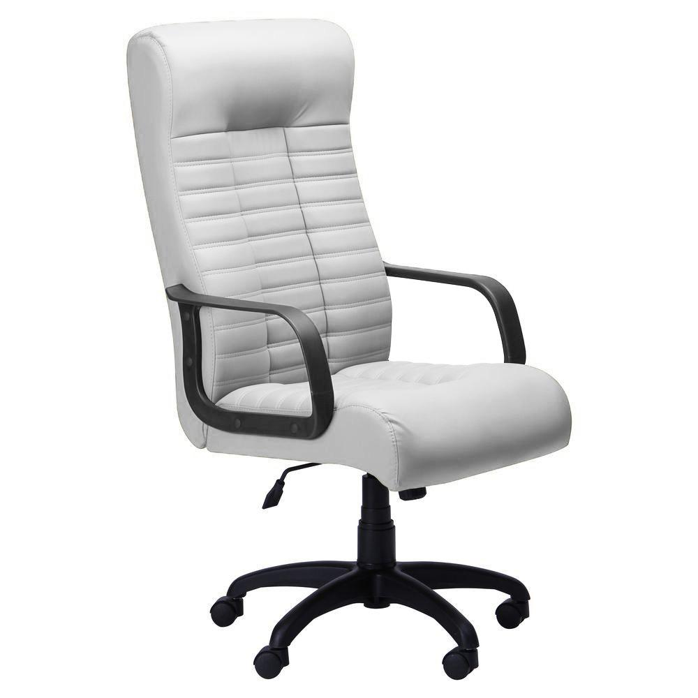 Кресло офисное Атлетик механизм Tilt, пластик черный/кожзаменитель Неаполь N-50 белый AMF