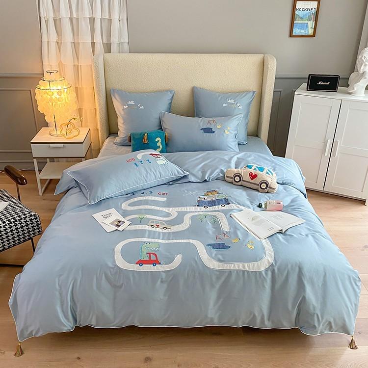 Комплект постельного белья I MEET YOU Египетский хлопок сатин Delux голубой полуторный SHM1001-131