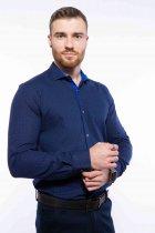 Рубашка мужская с мелким принтом Time of Style 204P1163 XXL Чернильно-голубой - изображение 1