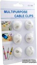 Органайзер для кабеля ExtraDigital Cable Clips 6 шт. White (KBC1664) - изображение 3
