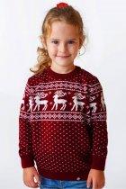 Светр Різдвяний з оленями дівчинці FLEUR Lingerie 104 бордовий - зображення 1