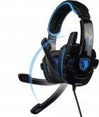 Наушники Sades SA-708 Stereo Gaming Headphone/Headset with Microphone Black/Blue (SA708-B-BL) - изображение 2