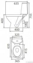 Унитаз-компакт COLOMBO Лотос Basic S14942500 с бачком и сиденьем полипропилен - изображение 2