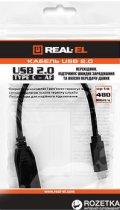 Кабель Real-El USB 2.0 Type C - USB AF 0.1 м Black (EL123500017) - изображение 2