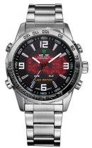 Мужские наручные часы Weide Led Steel, двойное время, подсветка - изображение 2
