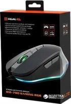 Мышь Real-El RM-780 RGB USB Black/Grey (EL123200023) - изображение 7
