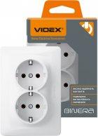 Розетка двойная VIDEX Binera с заземлением Белая (VF-BNSK2G-W) - изображение 1