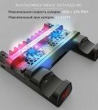 Мультифункциональная вертикальная подставка DOBE для Sony PlayStation PS4 Pro / PS4 Slim / PS4 Fat с охлаждающими кулерами, зарядная станция для двух геймпадов DUALSHOCK 4 с LED подсветкой, подставка под 10 дисков - изображение 4