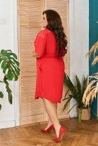 Платье-рубашка летнее большого размера с кружевом из гипюра So StyleM 60-62 Красный 1277-2 - изображение 2