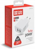 Сетевое зарядное устройство ColorWay 2 USB AUTO ID 4.8A (24W) White (CW-CHS016-WT) - изображение 6