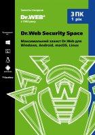 Антивірус Dr. Web Security Space 3 ПК/1 рік Версія 12.0 Картонний конверт - зображення 1