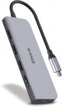 USB-хаб Real-El type C Multifunction HUB USB 3.0 with HDMI CQ-700 Space Grey (EL123110002) - изображение 3