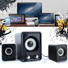 Компьютерные громкие комбинированные USB колонки для ПК, ноутбука, смартфона с акустической системой Hiraliy H1 Mini Speaker Стерео звук, Бас Чёрные с сабвуфером - изображение 1