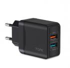 Сетевое зарядное устройство для телефона, смартфона Topk Quick Charge 3.0 |2USB, 18W, 3A| Черный - изображение 1
