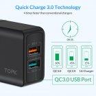 Сетевое зарядное устройство для телефона, смартфона Topk Quick Charge 3.0 |2USB, 18W, 3A| Черный - изображение 3