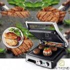 Электрический Гриль DSP KB 2000W профессиональный прижимной с функцией контроля температуры и антипригарным покрытием для приготовления мяса овощей и рыбы, Серебристый - изображение 2