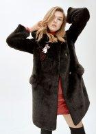 Пальто зі штучного хутра molliolli LIU COAT, M, чорне, MW9WCT04X - зображення 1