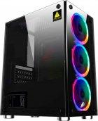 Корпус 1stPlayer X2-3R1 Color LED Black без БП - изображение 1