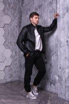 Куртка экокожа ZIBSTUDIO ромбы мелкие 2XL Чёрная (6157353) - изображение 4