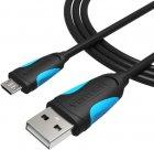 Кабель Vention USB-A 2.0 - microUSB B, 1 м Black (VAS-A04-B100-N) (59625022) - изображение 2