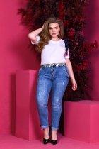 Джинсы женские потертые стрейч коттон с карманами поясок Miss Podium Синий 52 - изображение 1