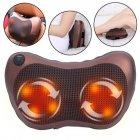 Массажная Подушка Инфракрасный роликовий массажер Massage Pillow для шеи и спины коричневая - изображение 3