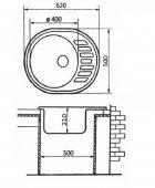 Кухонна мийка VERONA №4 620х500 мм, графіт - зображення 2