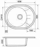 Кухонна мийка GRANADO Marbella Grafito (2909) + сифон одинарний для кухонної мийки Nova - зображення 7
