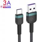 Кабель USB to Type-C (1m) 3A Quick Charge дата провід швидкої зарядки і синхронізації телефону для смартфона KUULAA Data Charger 3.0 (KL-X26) Green - зображення 1