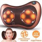 Покращена масажна роликовий подушка для масажу спини, шиї і всього тіла Original Pillow 2PLUS з функціями підігріву від мережі – Інфрачервоний універсальний домашній масажер, BROWN - зображення 1