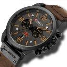 Часы мужские Curren Monreal с кожаным ремешком Черный/Коричневый - изображение 1