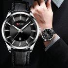 Годинники чоловічі Curren Panama з шкіряним ремінцем Чорний/Сріблястий - зображення 3