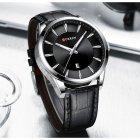 Годинники чоловічі Curren Panama з шкіряним ремінцем Чорний/Сріблястий - зображення 5