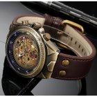 Часы мужские Winner Status механические с автоподзаводом и металлическим браслетом Коричневый - изображение 6