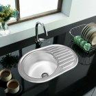Кухонна мийка LEMAX 770х500х180 0.8 мм хром (LE-5003 CH) - зображення 3