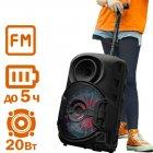 Колонка – чемодан Column 06 мощная портативная беспроводная Bluetooth LED подсветкой + FM радио + AUX – Музыкальная блютуз переносная акустическая стерео система USB с аккумулятором для улицы и дома, Чёрный - изображение 1
