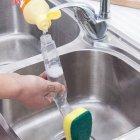 Багатофункціональна губка з Дозатором для миття посуду Dish Sponge економна –економна щітка + резервуар зручного контролю витрати рідини для чищення кухні посуду, Жовтий - зображення 5