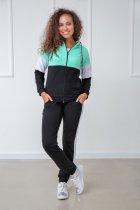 """Спортивный костюм Fashion Girl """"Decart"""" 46-48 черный с мятный - изображение 1"""