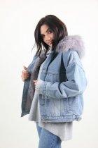 Куртка женская M.J. 1021 искусственный мех (Синий M/L) - изображение 4