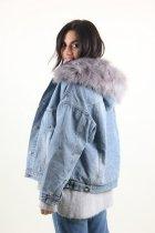 Куртка женская M.J. 1021 искусственный мех (Синий M/L) - изображение 5