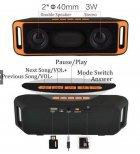 Акустична система UKC портативна колонка Megabass A2DP Stereo Bluetooth USB FM 20см Оранжево-чорна (SC-208-2) - зображення 10