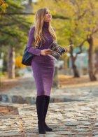 Трикотажное платье футляр ENME 09081-600 L Фиолетовый - изображение 3