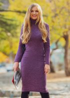 Трикотажное платье футляр ENME 09081-600 L Фиолетовый - изображение 4