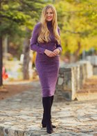 Трикотажное платье футляр ENME 09081-600 L Фиолетовый - изображение 6