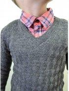 Пуловер Прованс Геометрія 13060 122-128 см Графітовий (4823093414389) - зображення 2