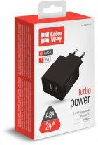 Сетевое зарядное устройство ColorWay 2USB AUTO ID 4.8A (20W) Black (CW-CHS016-BK) - изображение 5
